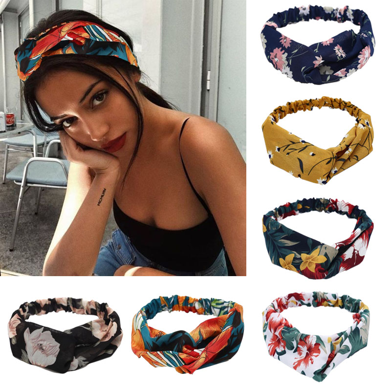 Bohemian Style Hairbands Print Headbands For Women Retro Cross Knot Turban Bandage Bandanas Elastic Hair Rope Hair Accessories