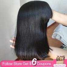 Pelucas de pelo humano con corte Bob liso para mujer, 14 pulgadas, con flequillo, hechas a máquina, Color Natural brasileño, sin encaje