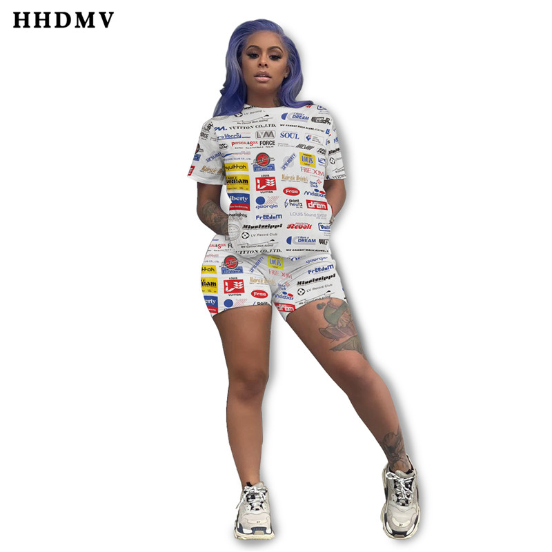 HHDMV GYF18045 summer women hot sale fashion sets short sleeve round neck top elastic short pants printed two piece sets
