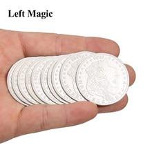 5 pces palming moedas (versão morgan) truques de magia super fino magia moeda close-up ilusão de rua acessórios cómico prop comédia