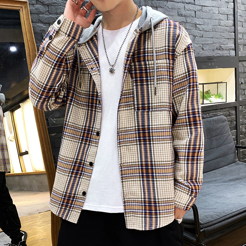 Japan Style Casual Cardigan 2020 Spring Autumn ROCK PUNK Plaid Hoodie Sweatshirt Men'S Fleece Hip Hop Streetwear Clothes