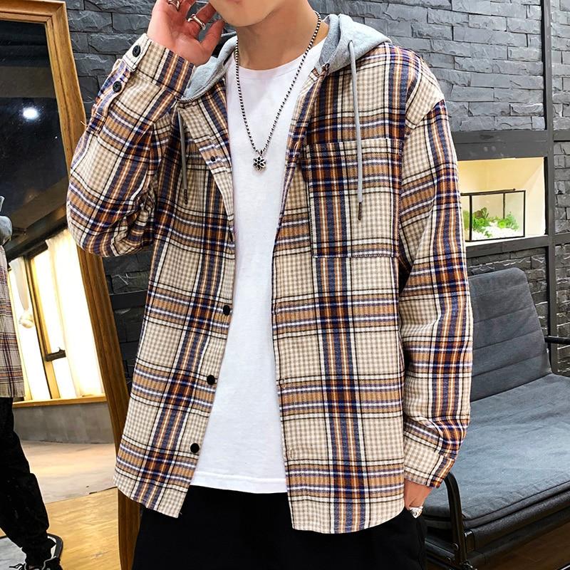 Japan Style Casual Cardigan 2020 Spring Autumn ROCK PUNK Plaid Hoodie Sweatshirt Men'S Fleece Hip Hop Streetwear Clothes