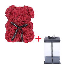 1 Set With Box 25cm Teddy Rose Bear Artificial PE Flower Valentine's Day Girl Friend Women Wife Mother's Day Gift Wedding Party
