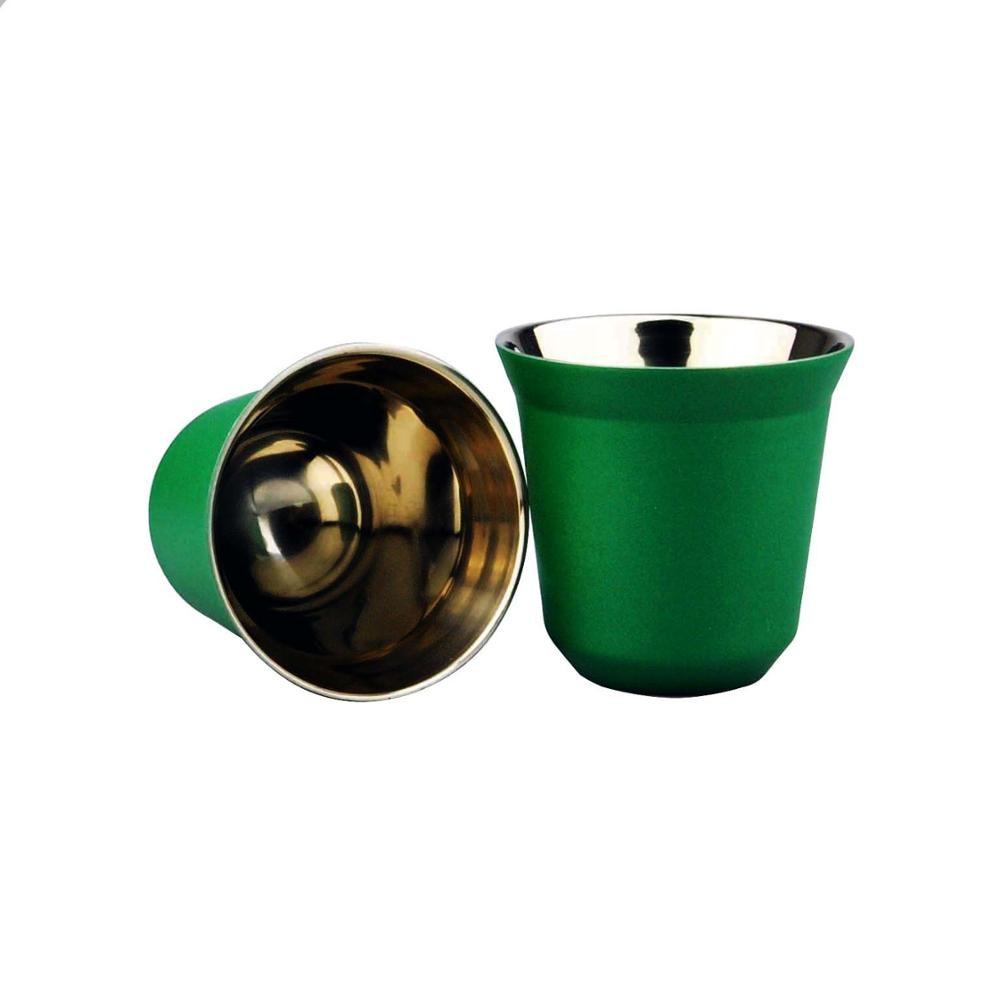 2 adet 80ml çift paslanmaz çelik espresso fincanı termos bardak ve tozu fincan kahve kapsül fincan
