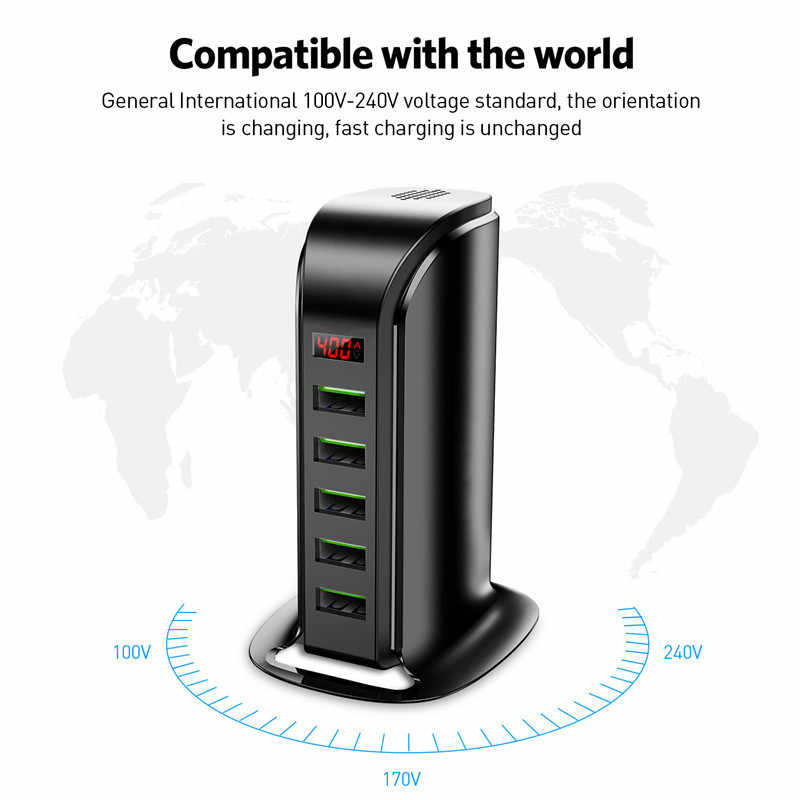 Sindvor 5 портов USB зарядное устройство концентратор светодиодный дисплей мульти док-станция для зарядки с USB универсальный мобильный телефон Настольный настенный дом EU UK Plug