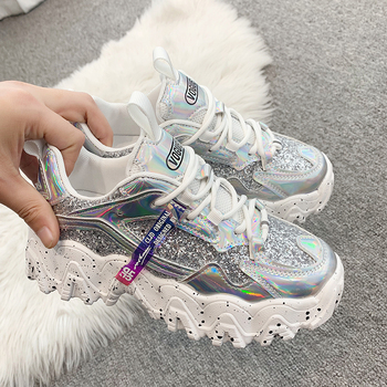 Spring Women's Chunky Sneakers Fashion Women Platform Shoes Bling Sequined Lace-Up Vulcanize Shoes Female Trainers Dad Shoes new women platform chunky sneakers lace up casual vulcanize shoes designer dad female fashion sneakers 2019 women shoes