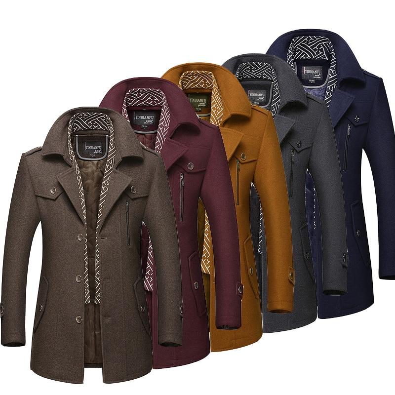 abrigo hombre Men Winter Wool Coat 2020 Men New Casual Solid Wool Blends Woolen Coat Male Trench Coat Overcoat шерсть пальто