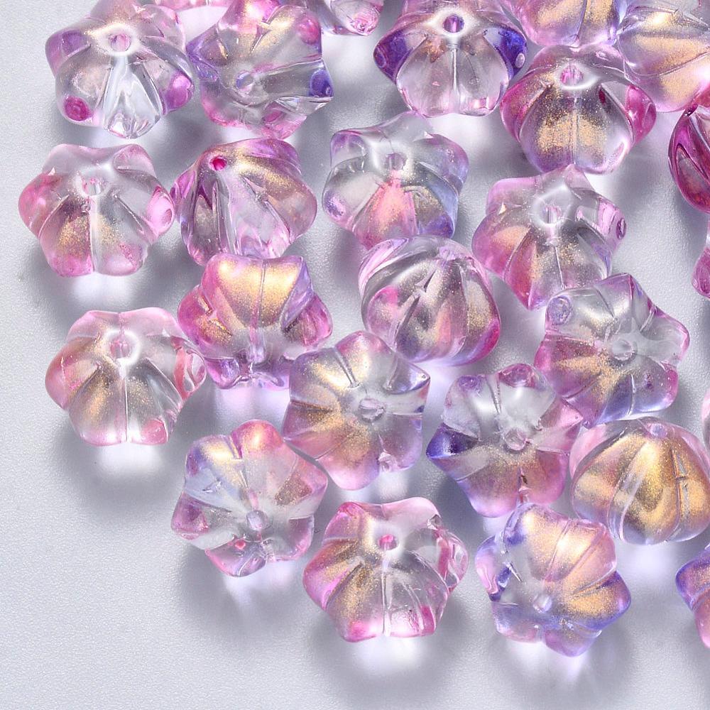 100Pcs Transparente de Vidro Pintadas com Tinta Spray Contas Flor Solta Pérolas Spacer com Glitter Em Pó Para A Jóia DIY Fazendo Acessórios