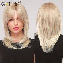 GEMMA Medium Wavy Hair Natural Cosplay Ombre Golden Blonde Layered Synthetic Wig with Side Bangs for Women Heat Resistant Fibre