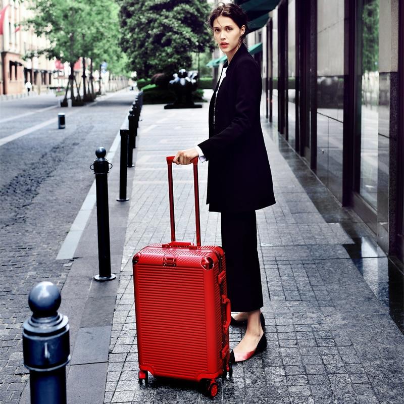 Luxury Brand Aluminium Alloy Suitcase with TSA Lock Universal Wheel Luggage Suitcase 20/24/26/29 Inch Cabin Trolley Box Black