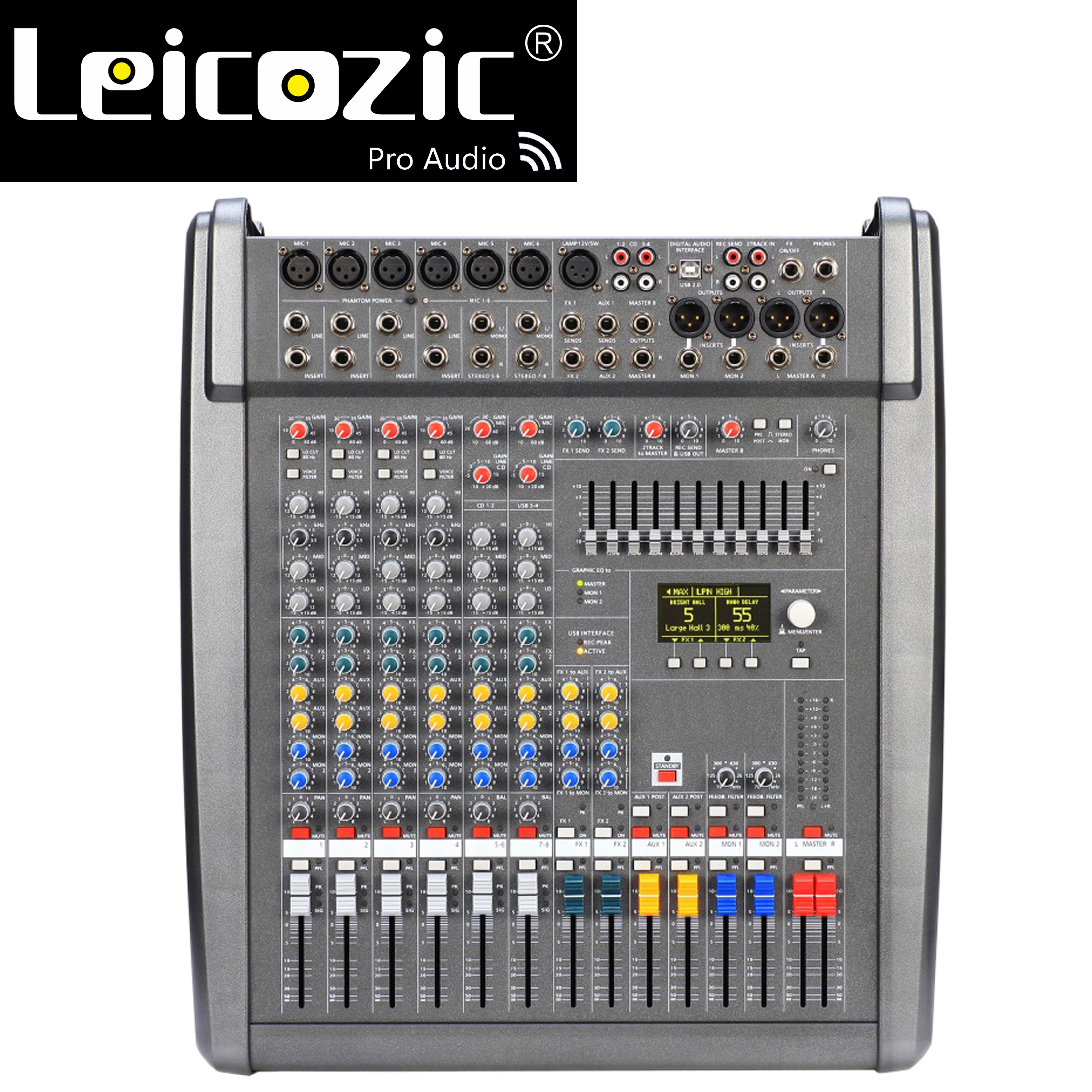 Console de mixage alimentée par PM600-3 Leicozic 1000W * 2 Console de mixage Audio alimentée 4OHMS Console de mixage 8 canaux professionnelle Powermate