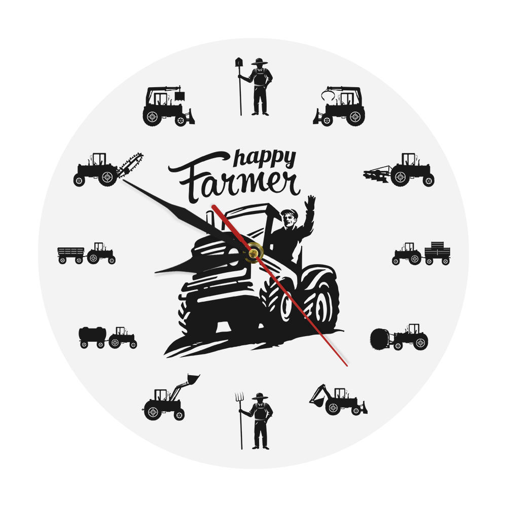 Happy Farmer Working Silhouette Agricultural Machines Tractors Modern Wall Clock Farming Country Harvest Farmhouse Village Decor