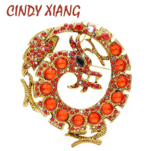 CINDY XIANG New Arrival Red Color Dragon Brooches For Women And Men Unisex Animal Pin Large Fashion Jewelry Vintage Style Gift