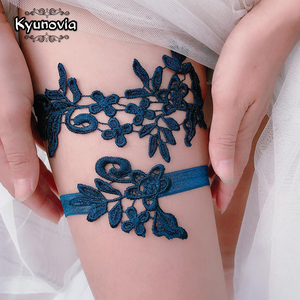 Kyunovia 2pcs/Set Wedding Garters Lace Embroidery Floral Sexy Garters For Women/Bride Thigh Ring Bridal Leg Garter BY35