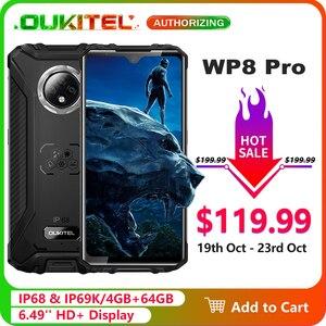 OUKITEL WP8 Pro IP68 Waterproof Mobile Phone NFC 6.49'' HD+ Display 4GB 64GB MT6762D Octa Core Android 10 Smartphone 5000mAh