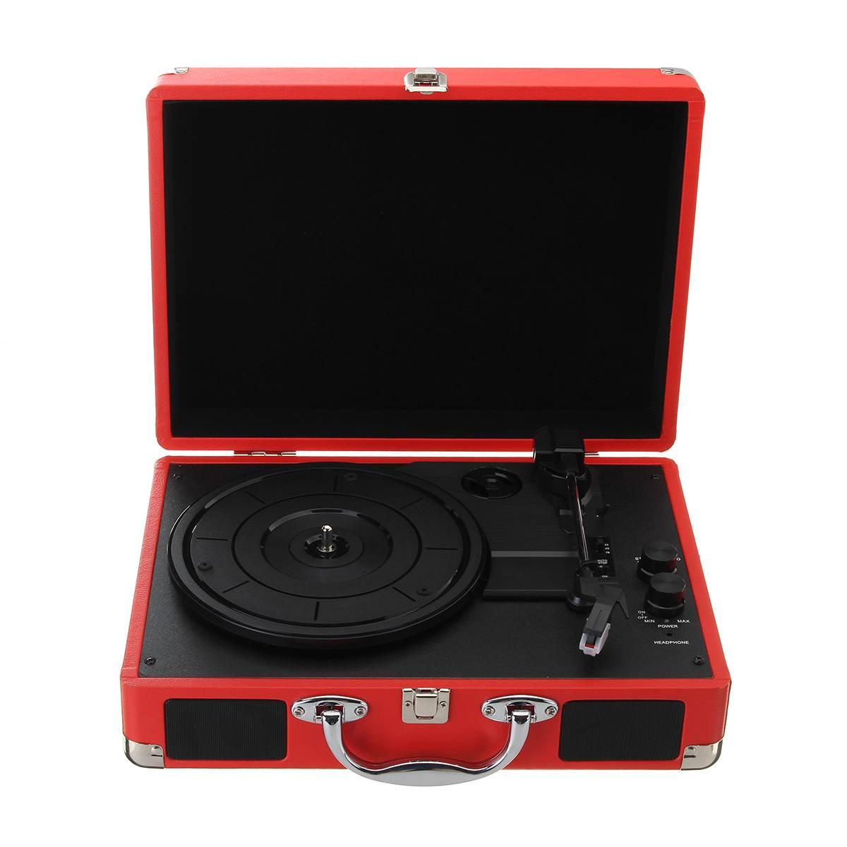 Plastic Wood Retro 33/45/78 RPM bluetooth PH/ INT/ BT 2.0 Suitcase Turntable Vinyl LP Record Phone Player 3-Speed 3.5mm AUX IN