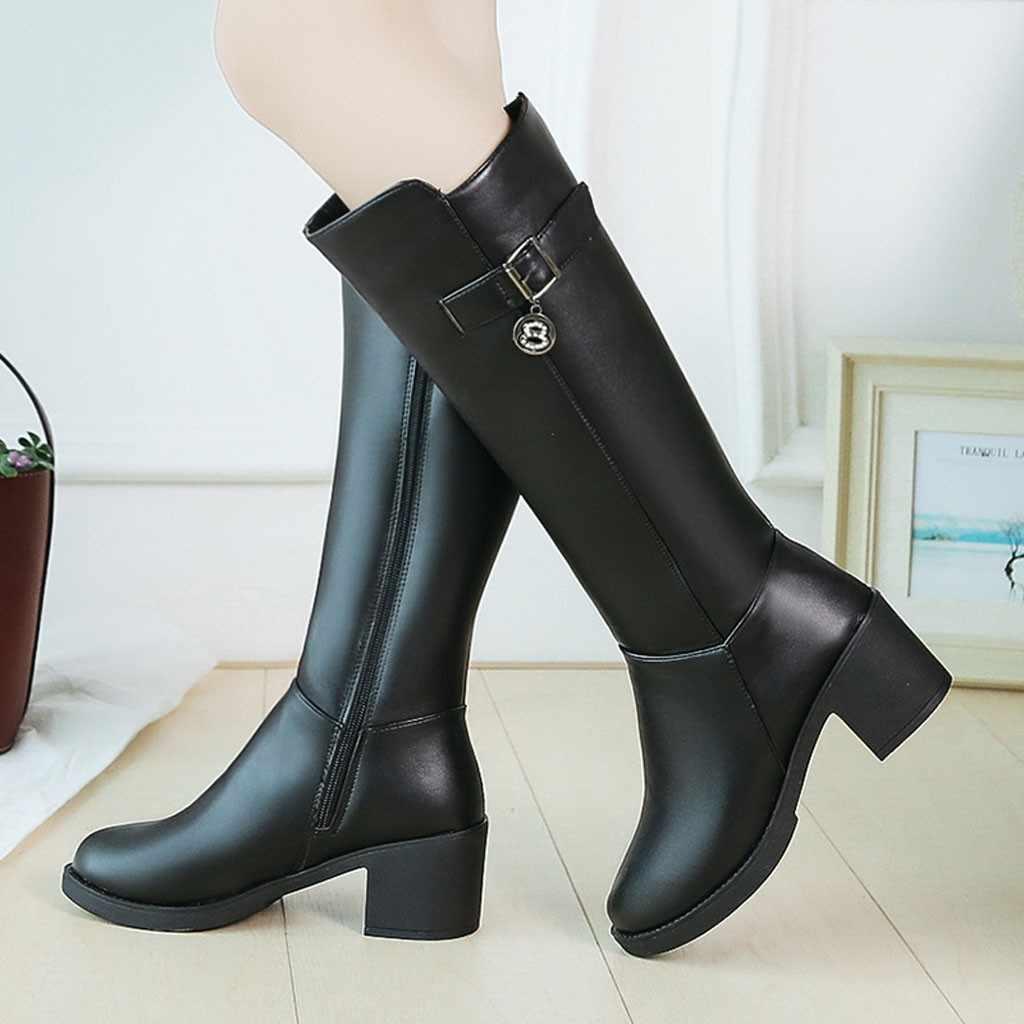 Botas de couro de bezerro largo botas femininas longas botas de tubo de inverno senhora elegante sapatos de salto alto festa de casamento meados de bezerro botas mujer