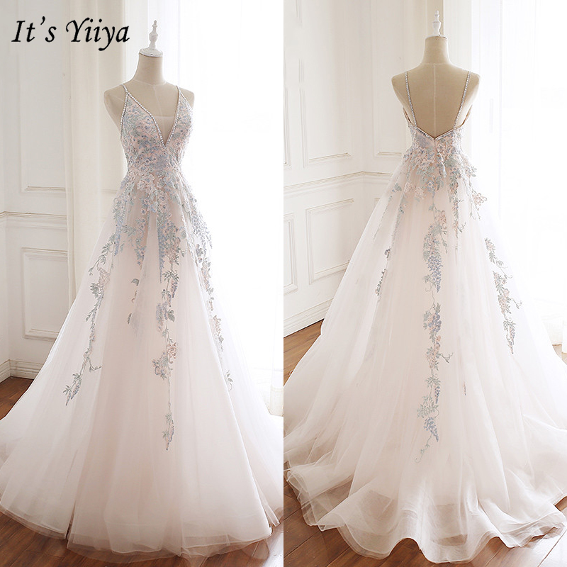 It's Yiiya Evening Dress 2019 Spaghetti Strap Embroidery Lace Princess Ball Gown Elegant V-Neck Party Formal Dresses E930