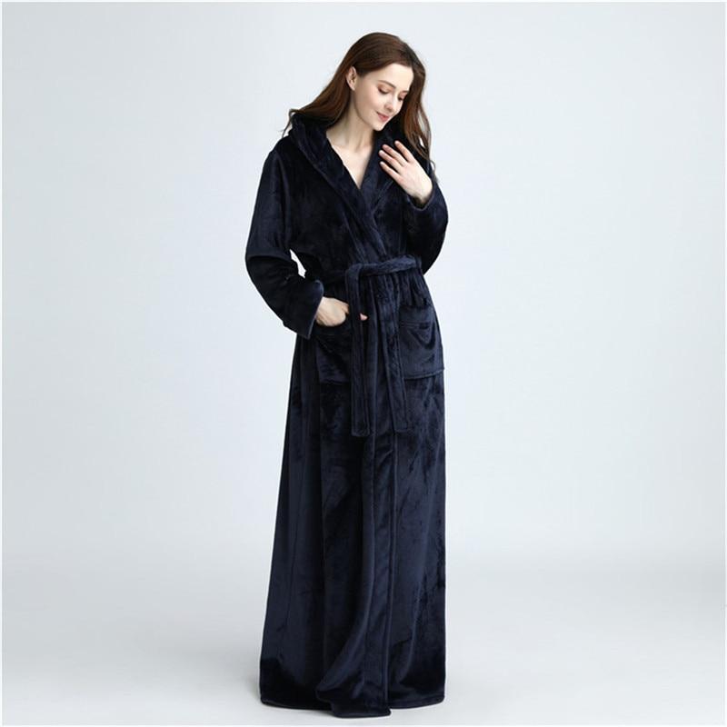Unisex Double Pockets Flannel Long Hooded Bathrobe Housecoat Full Length Robe Long Sleeve Wrap Bathrobe