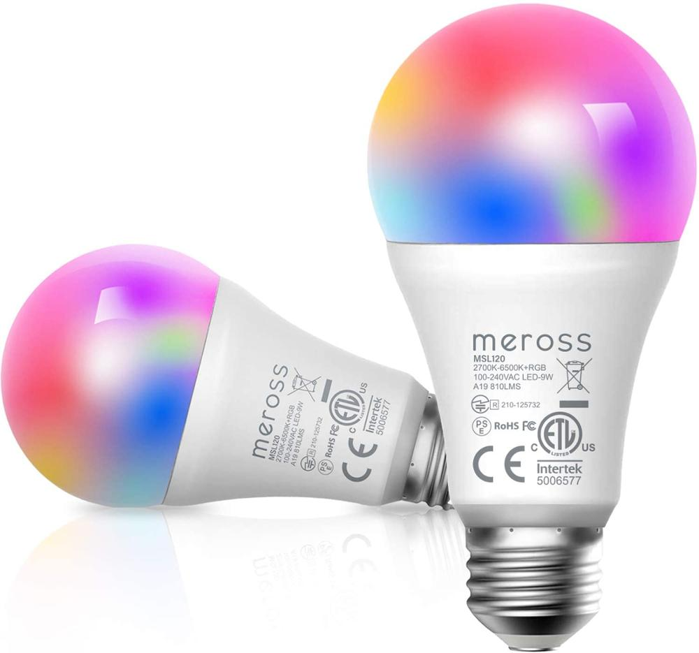 Meross Smart Wi-Fi LED Bulb, 2700K-6500K RGB, 810 Lumens 60W Equivalent, Works With Amazon Alexa, Google Assistant (2 Pack)