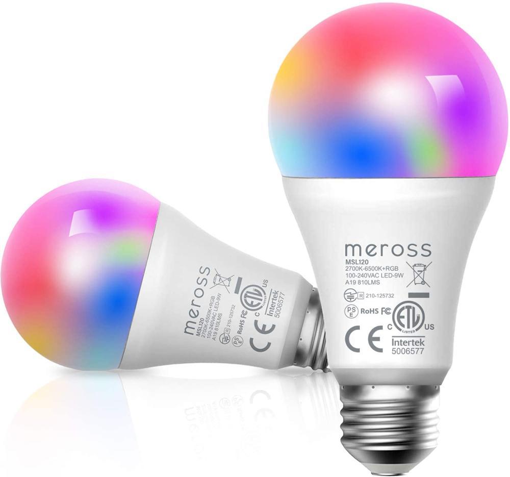 Meross Smart Wi-Fi LED Bulb, 2700K-6500K RGB, 810 Lumens 60W Equivalent, Works With Amazon Alexa, Google Assistant (2 Pack)