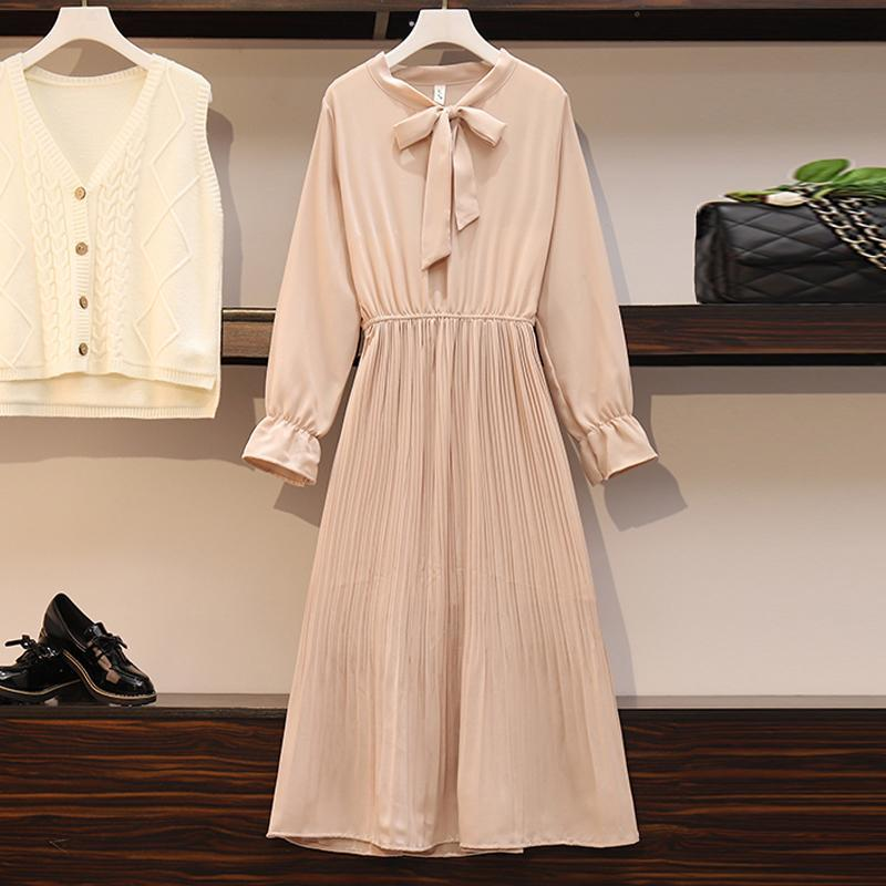 2020 New Girl Style One Piece Suit Dress, Women's Autumn and Winter Show Thin Long Sleeve Pleated Medium Length Shirt Dress 13