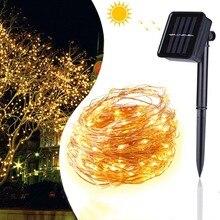 33 фута 100LED солнечные строка огни открытый Фея водонепроницаемый свет декоративное освещение для патио сад ворота двор свадьба Рождество
