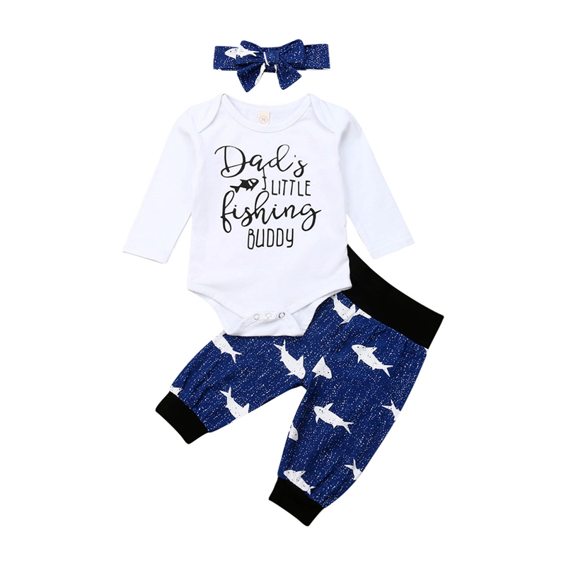 Baby Girl Clothes Set,Newborn Infant Girl Letter Print Romper Tops+Pants+Headbands Outfits