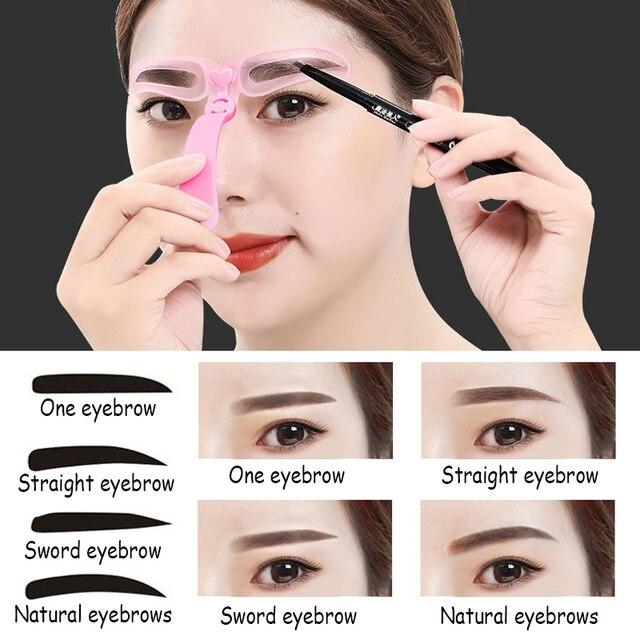 Reusable 4 in 1 8 in1 Eyebrow Shaping Template Helper Eyebrow Stencils Kit Grooming Card Eyebrow Defining Makeup Tools 5