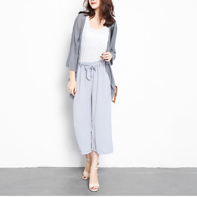 High Waist Trousers For Women Summer Bow Chiffon   Wide     Leg     Pants   Female Loose Casual   Pants   Solid Trouser