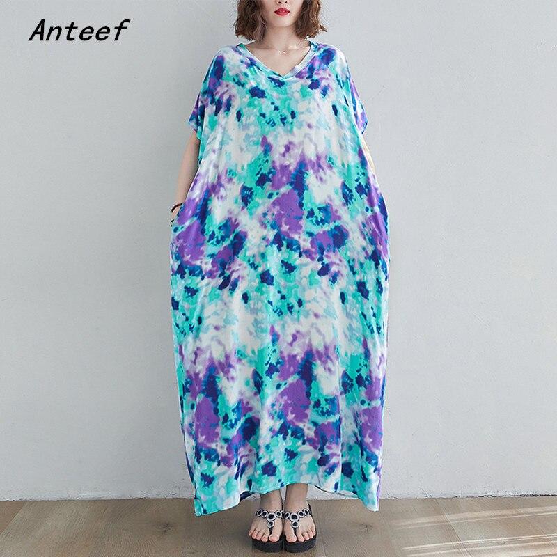 short sleeve plus size cotton stain vintage dresses for women casual maxi long loose sun summer beach dress elegant clothes 2021