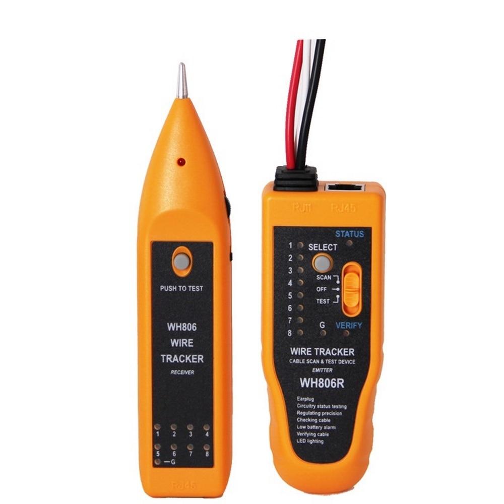 Profissional wh806r telefone fio rastreador lan cabo de rede testador para utp stp rj45 rj11 linha finder diagnosticar tom tracer