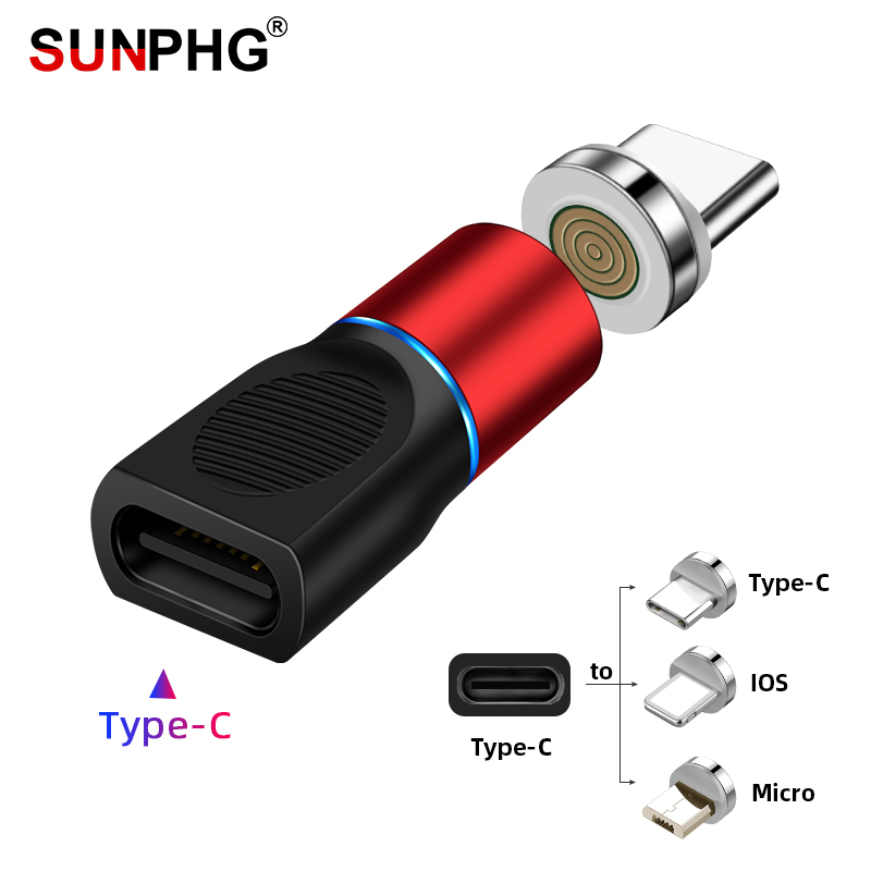SUNPHG Magnetic Adapter USB Type C To Micro Ios Type-C Converter For IPhone Xiaomi Huawei Samsung Phone Charger Cable Connector