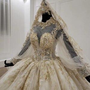 Image 4 - Кружевное бальное платье HTL1141, свадебное платье с длинным рукавом и высокой горловиной, с аппликацией, бальное платье невесты с хиджабом, платье casamento civil