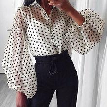 Fashion Sexy Women Polka Dot Mesh Sheer See-through Long Puff Sleeve Turn-down collar Tops Loose