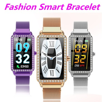 Female Smart Wristband Ladies Fitness Bracelet Pedometer Heart Rate Blood Oxygen Blood Pressure Monitor Women Smart Band Android