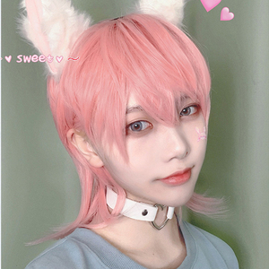 MEIFAN Lolita Cosplay Anime Wig Synthetic Wig Short Straight Hair Light Pink Cute Male/Women Natural False Short Hair