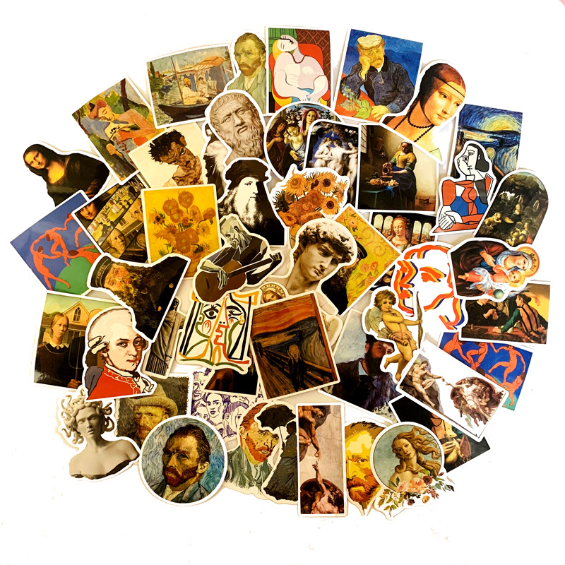 50Pcs Famous Artists Oil Painting Mona Lisa Stickers For DIY Laptop Scrapbooking Graffiti Diary Label Stationery Decor Sticker