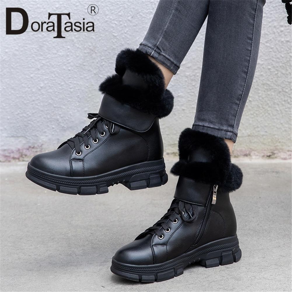 DORATASIA grande taille 34-43 nouvelle fille bottes de neige femmes mode Zip croix liée chaussures femme décontracté doux hiver chaud bottines 2019