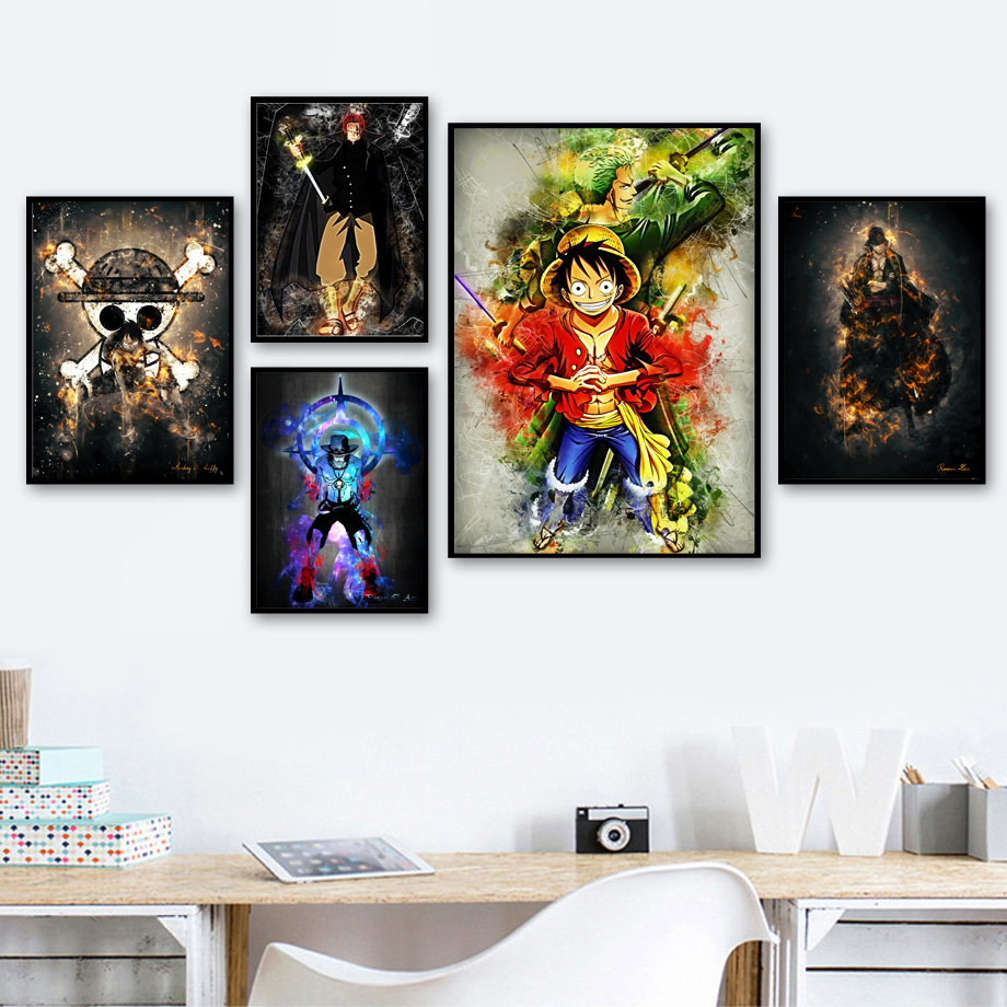 Eiichiro Oda One Piece Luffy Zoro Ace Shanks Comic Posters And Prints Wall Art Canvas Painting Wall Pictures Kids Room Decor