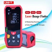 UNI T 40M 50m 60m Laser entfernungsmesser Digitale Laser Abstand Meter batterie powered laser range finder band entfernungsmesser