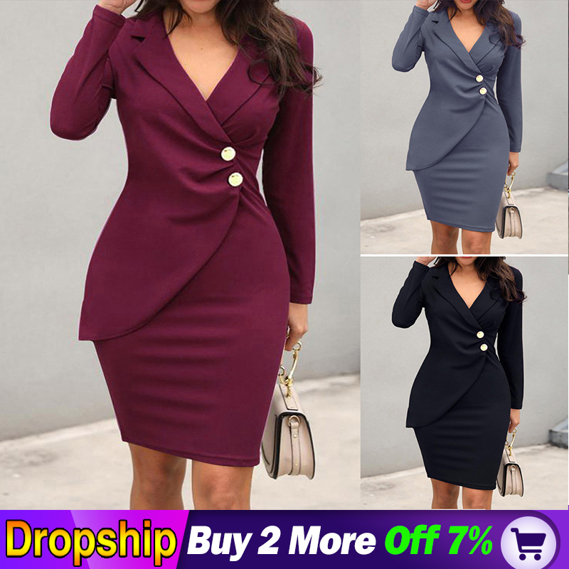 Work Formal Dress Blazer Women Neck Long Sleeve Buttons Bodycon Casual Dress Vneck Sleeveless Party Dress Office Ladies Vestidos