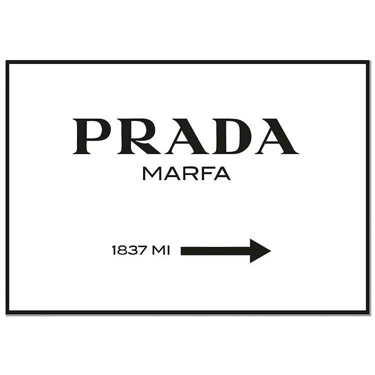 Plakat Panorama Prada Marfa biały-wydrukowany na plakacie-inspirujące cytaty-Prada Marfa-plakat inspirująca dekoracja-nowoczesny drukowany obraz na ścianach