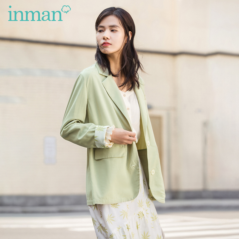 INMAN 2020 Spring New Arrival Literary Retro Style Office Lady Flower Print Contrast Color Folded Sleeve Loose Style Women Suit