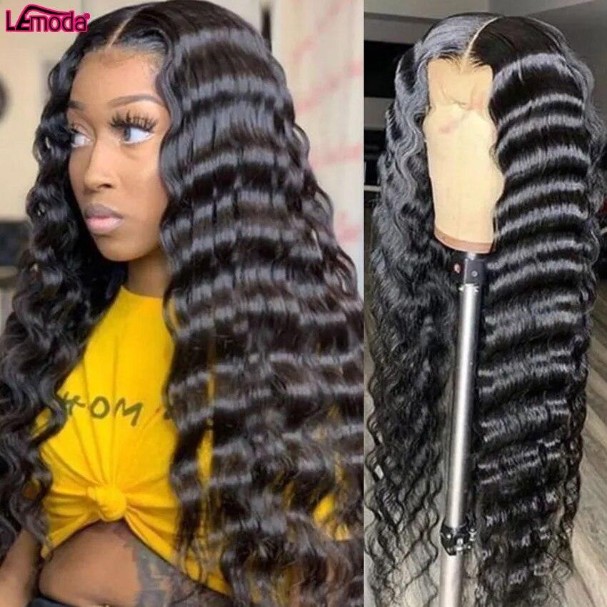 Lemoda HD прозрачный Синтетические волосы на кружеве al парик 30 дюймов вьющиеся Синтетические волосы на кружеве парики из натуральных волос с Аф...