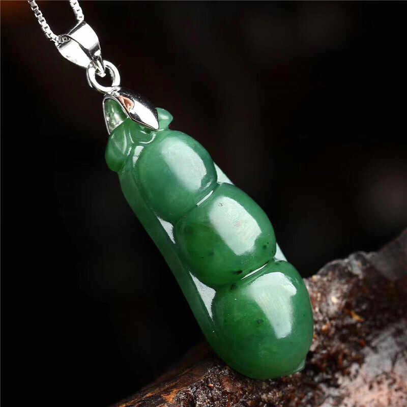 自然の緑の豆ジャスパーペンダントドロップ無料手彫ラッキーお守り愛好家和田ヒスイのネックレス用