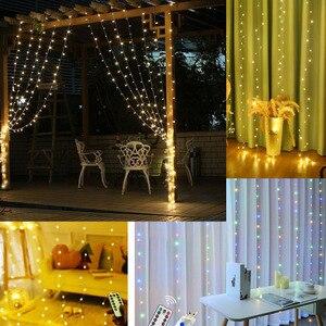 Image 5 - Cortina de alambre de cobre con luces LED para Navidad 300, 3x3m, ventana parpadeante, hada IP65, 5V, mando a distancia, IR a boda, fiesta y vacaciones
