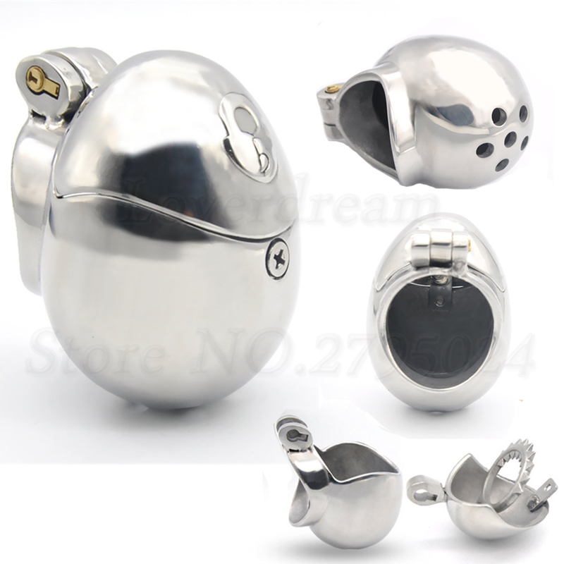 Stainless Steel Egg Shape Ball Stretcher Male Chastity Cage Cock Ring Sex Toys For Men Gay Virginity Restraints Belt Device