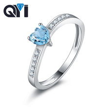 QYI Fashion 0 5 Ct Heart Natural Topaz Ring For Women Engagement Wedding Bands Jewelry 925 Sterling Silver Gemstone Rings cheap 925 Sterling Prong Setting QYENG230 Geometric TRENDY Anniversary