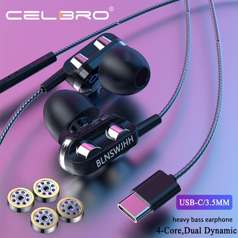 Tipo c fones de ouvido com fio fones de ouvido com microfone quad core duplo anel de ação fones de ouvido in-ear fone de ouvido 3.5mm controle de volume estéreo 3d